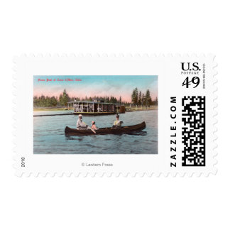 View of a House Boat on the Lake Postage Stamp