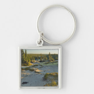 View of a lake and the surrounding sand hills, Silver-Colored square keychain