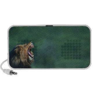 View of a Lion (Panthera leo) opening its mouth Laptop Speaker