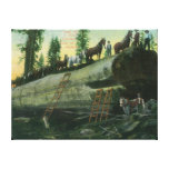 View of a Logging Team on a Fallen Redwood Canvas Print