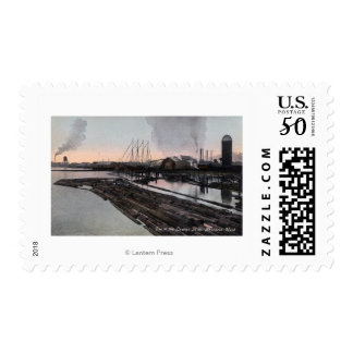View of a Lumber Mill Postage