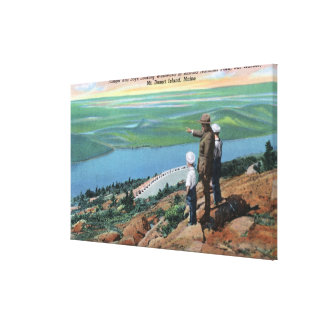 View of a Park Ranger and Boys Looking West Canvas Print
