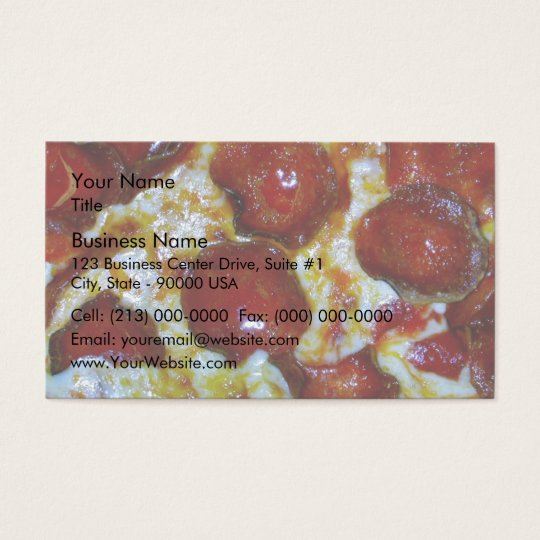 View of a Pepperoni Pizza Business Card