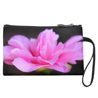 View of a Pink Flower Suede Wristlet Wallet
