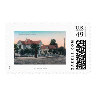 View of a Residence Street, Kid on Bike Postage