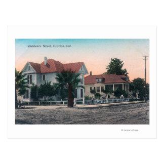 View of a Residence Street, Kid on Bike Postcard