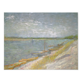 """View of a River w Rowing Boats by Vincent van Gogh 4.25"""" X 5.5"""" Invitation Card"""