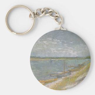 View of a River w Rowing Boats by Vincent van Gogh Keychain