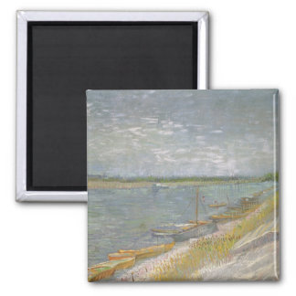 View of a River w Rowing Boats by Vincent van Gogh Magnet