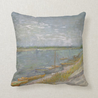 View of a River w Rowing Boats by Vincent van Gogh Pillow