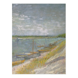 View of a River w Rowing Boats by Vincent van Gogh Postcard