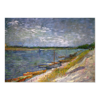 """View of a River with Rowing Boats by van Gogh 5"""" X 7"""" Invitation Card"""