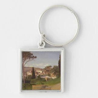 View of a Roman Villa, 1844 Silver-Colored Square Keychain