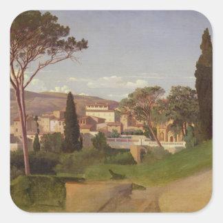 View of a Roman Villa, 1844 Square Sticker