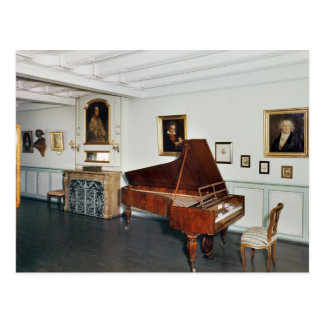 View of a room with a grand piano postcard