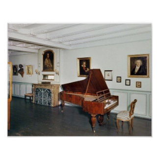 View of a room with a grand piano poster