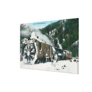 View of a Rotary Snow Plow in the Mountains Canvas Print