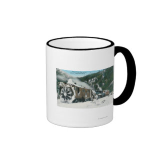 View of a Rotary Snow Plow in the Mountains Ringer Mug