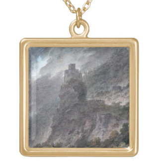 View of a Schloss between Bolzano and Trent, (w/c) Gold Plated Necklace