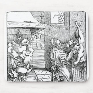 View of a sixteenth century kitchen with cook mouse pad