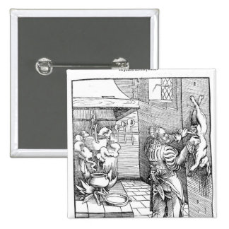 View of a sixteenth century kitchen with cook pinback button