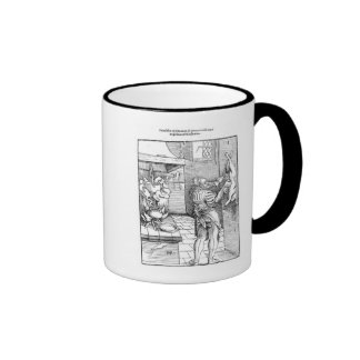View of a sixteenth century kitchen with cook ringer mug