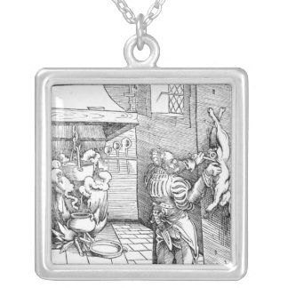 View of a sixteenth century kitchen with cook silver plated necklace
