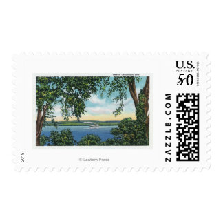 View of a Steamboat on the Lake Postage