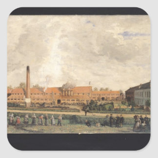 View of a Sugar Factory Square Sticker