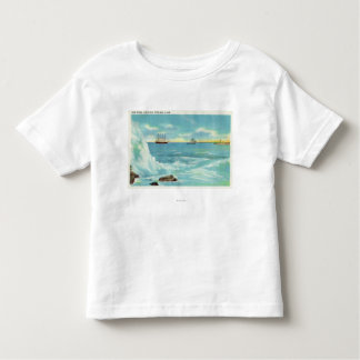 View of a Surf Scene, Ships on Casco Bay Tshirt