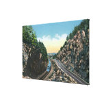 View of a Train Alongside the Highway Canvas Print