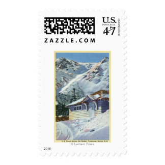 View of a US Forest Service Ski Shelter Postage Stamp