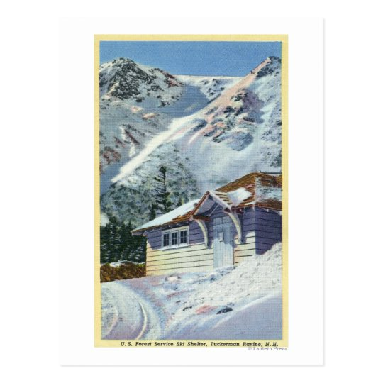 View of a US Forest Service Ski Shelter Postcard