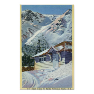 View of a US Forest Service Ski Shelter Poster