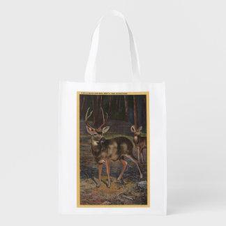 View of a Wild Buck & Doe Reusable Grocery Bag