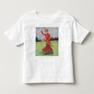 View of a Woman in Red Golfing Toddler T-shirt