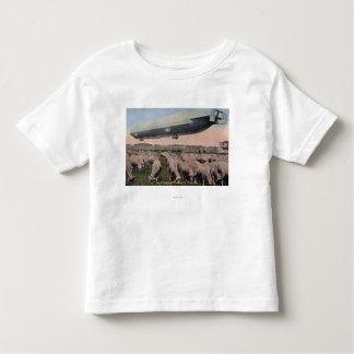 View of a Zeppelin Blimp over Grazing Sheep Toddler T-shirt