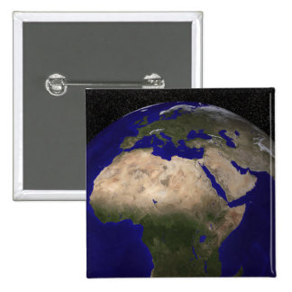 View of Africa, Europe, the Middle East, and In Pinback Buttons