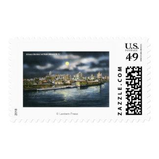 View of Albany Skyline at Night Postage