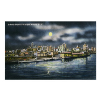 View of Albany Skyline at Night Poster