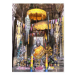 View of altar area inside Buddhist temple, Postcard