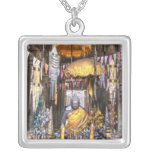 View of altar area inside Buddhist temple, Square Pendant Necklace