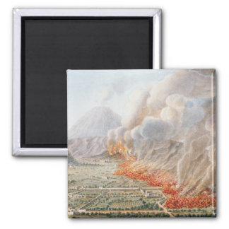 View of an eruption of Mt. Vesuvius which began on 2 Inch Square Magnet