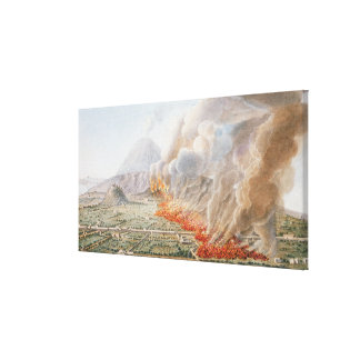 View of an eruption of Mt. Vesuvius which began on Canvas Print