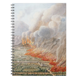 View of an eruption of Mt. Vesuvius which began on Notebook