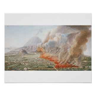 View of an eruption of Mt. Vesuvius which began on Posters