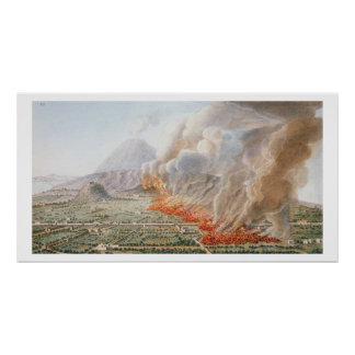 View of an eruption of Mt. Vesuvius which began on Poster