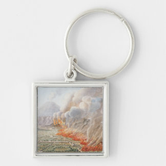 View of an eruption of Mt. Vesuvius which began on Silver-Colored Square Keychain