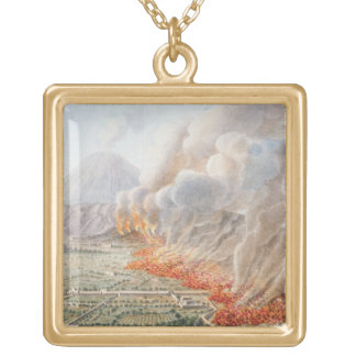 View of an eruption of Mt. Vesuvius which began on Square Pendant Necklace