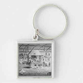View of an Italian kitchen at Lerici Silver-Colored Square Keychain